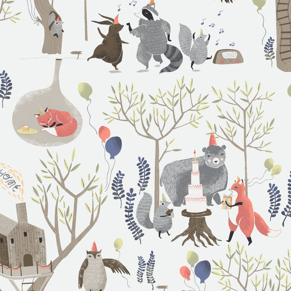 Woodland Party cotton fabric- Dear Stella Treetop Party Foxtail Forest