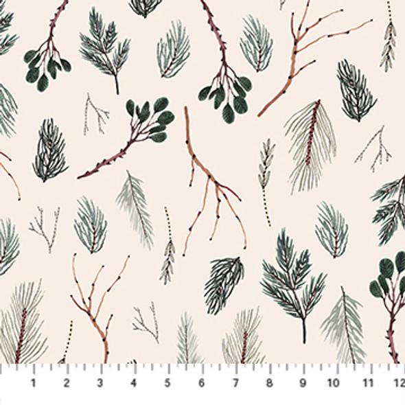 Cream pine twigs Winter Frost cotton fabric FIGO Fabrics