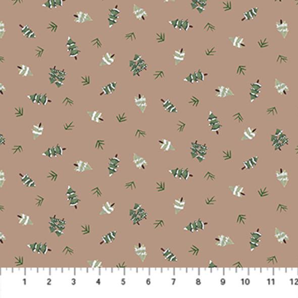 Brown little trees Winter Frost holiday cotton fabric FIGO Fabrics