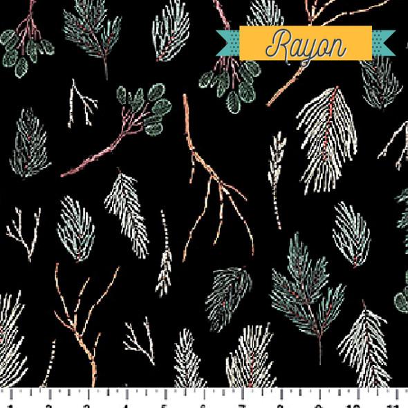 Black Twigs RAYON fabric by FIGO Fabrics Winter Frost