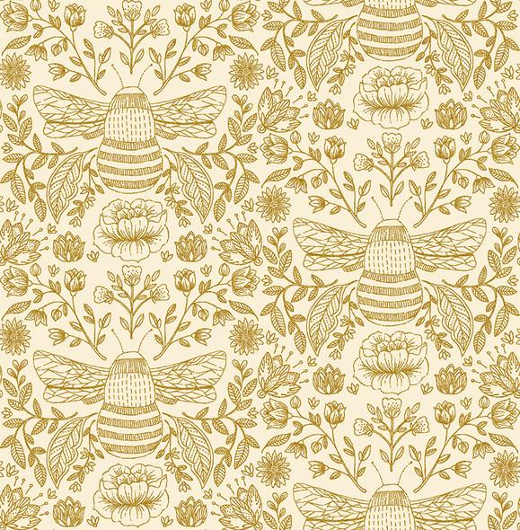 Bee's Knees High noon metallic - RJR Fabrics Summer in the Cotswolds cotton