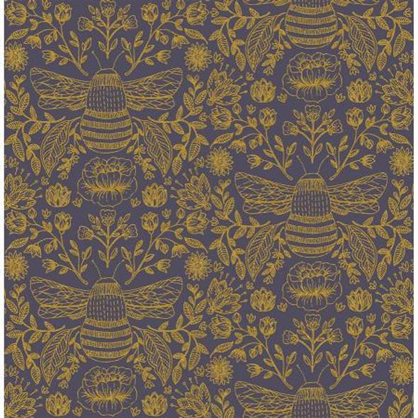 Bee's Knees Twilight metallic - RJR Fabrics Summer in the Cotswolds cotton