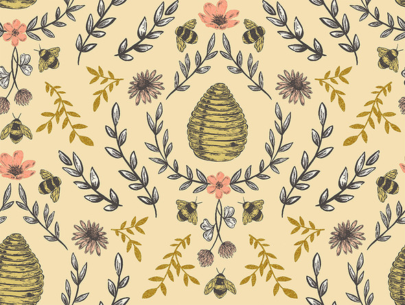 Beehive Honey metallic - RJR Fabrics Summer in the Cotswolds cotton