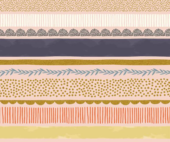 Bumble Bee Stripe Daybreak metallic - RJR Fabrics Summer in the Cotswolds cotton