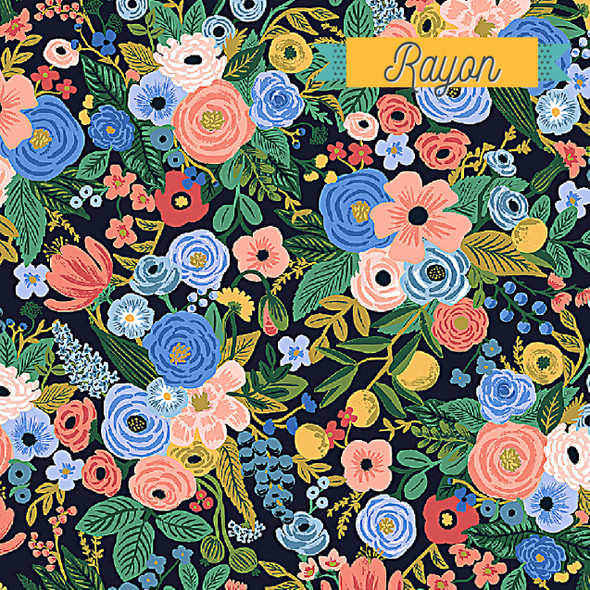 Navy Petite Garden Party floral RAYON fabric - Rifle Paper Co. Wildwood