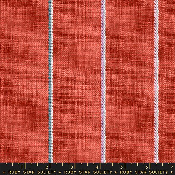 Persimmon stripe woven cotton fabric - Ruby Star Society