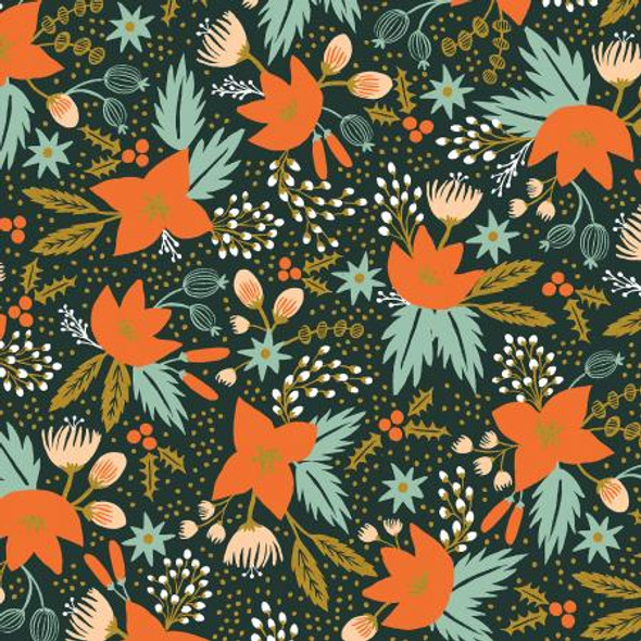 Poinsettia Evergreen metallic floral fabric - Rifle Paper Co quilting cotton