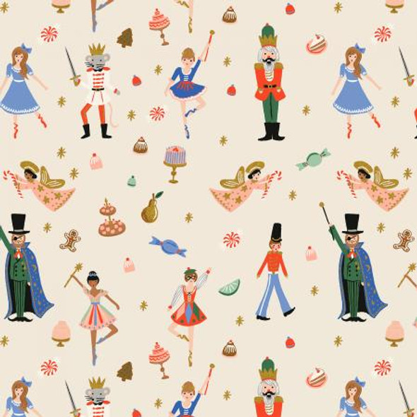 Cream Land of Sweets Christmas Toys fabric - Rifle Paper Holiday Classics