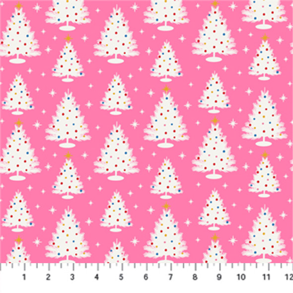 Pink Vintage Christmas Trees - Peppermint FIGO Fabrics quilt cotton QTR YD