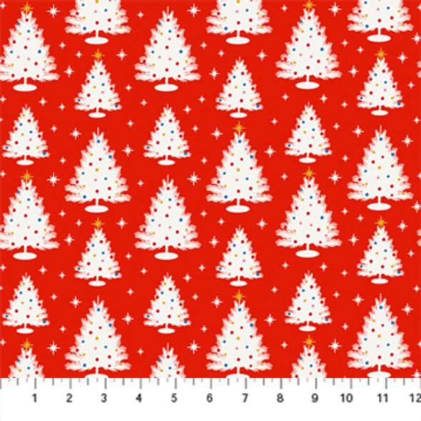 Red Vintage Christmas Trees - Peppermint FIGO Fabrics quilt cotton QTR YD