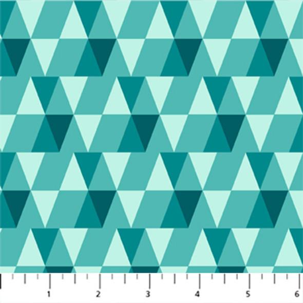 Teal modern triangles quilt cotton - FIGO Fabrics Peppermint