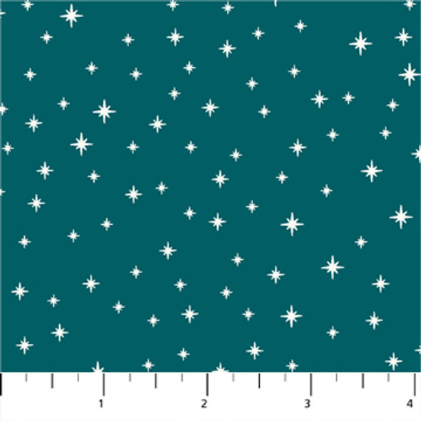 Teal holiday stars fabric quilt cotton Peppermint FIGO Fabrics