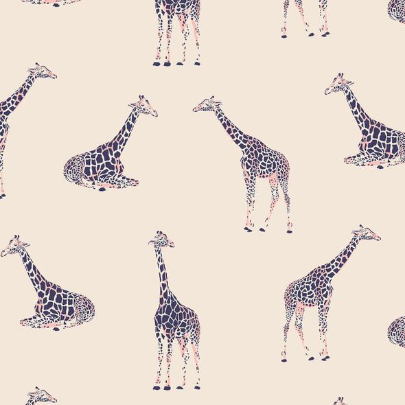 Modern giraffe jungle animal fabric - RJR Fabrics Magic of Serengeti cotton