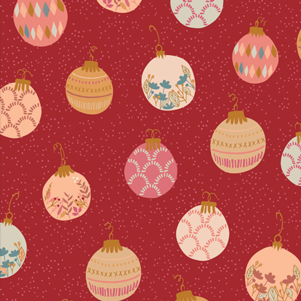 Red Ornaments cotton fabric - Deck the Halls AGF Cozy Magical