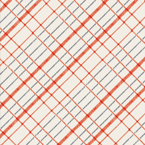 Red White Blue plaid cotton fabric - Untangled Scarves cotton