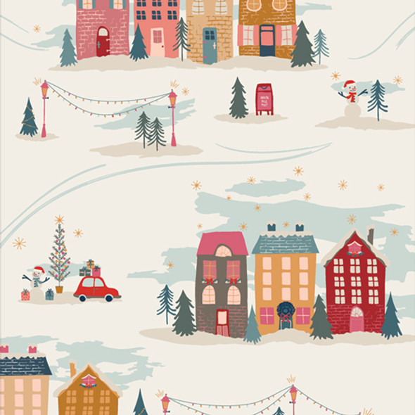 Christmas Town holiday scene fabric - Christmastide Town Art Gallery
