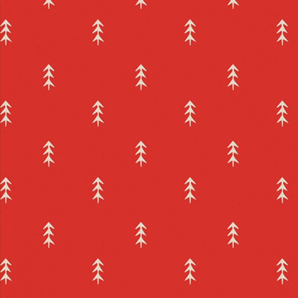Red Tree fabric - Simple Deloliage Spice cotton fabric Cozy Magical
