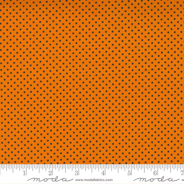 Orange Black Polka Dot fabric - Holiday Halloween Moda Fabrics