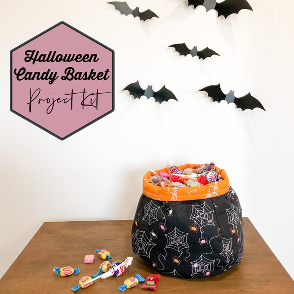 Halloween Candy Basket Sewing Project Kit - Art Gallery Spooky 'n Sweeter Basket kit
