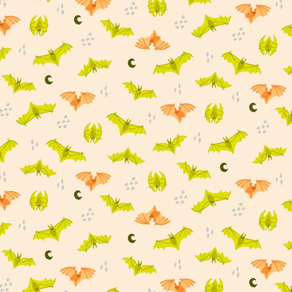 Orange Peach Metallic Bat Attack cotton fabric Bring Your Own Boos