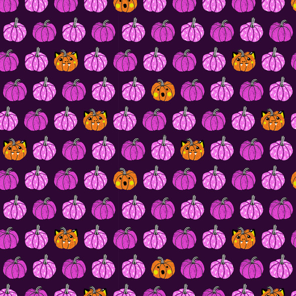 Purple Black Halloween Pumpkin cotton fabric Cotton + Steel Halloween
