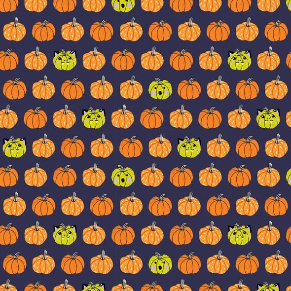Orange Black Halloween Pumpkin cotton fabric Cotton + Steel Halloween