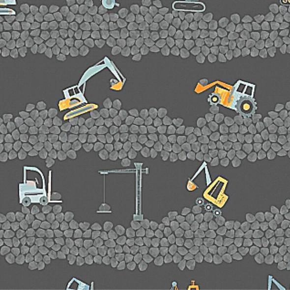 Excavators bull dozer crane gray Fabrics design