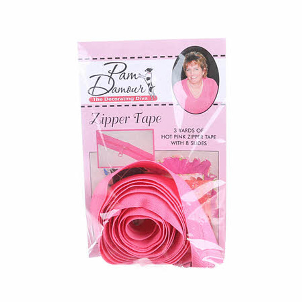 Hot Pink Reversible Coil Zipper Tape 3 yards Decorating Diva