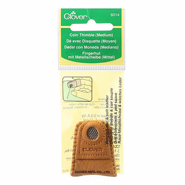Clover Leather Coin Thimble for sewing quilting needlework - medium size