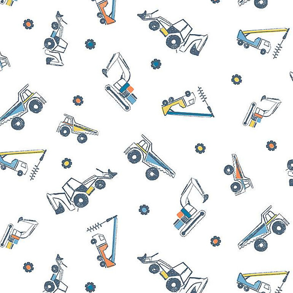 White Boys Construction Truck fabric Dear Stella quilt cotton Get Loaded