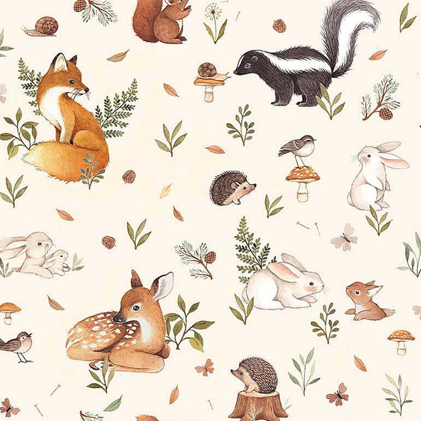 Woodland Baby Animals Dear Stella quilting cotton fabric Little Fawn QTR YD
