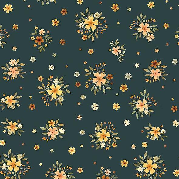 Navy Floral Bouquets Dear Stella Little Fawn and Friends cotton fabric