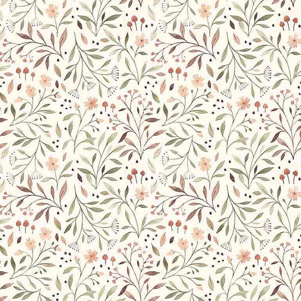 Cream Woodland Floral fabric Dear Stella Flora fall cotton fabric