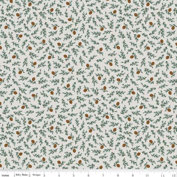 White Pine Cones Twigs fabric Camp Woodland Riley Blake fabric