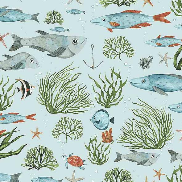 Fish Sea fabric Nice to Sea You Dear Stella cotton fabric QTR YD