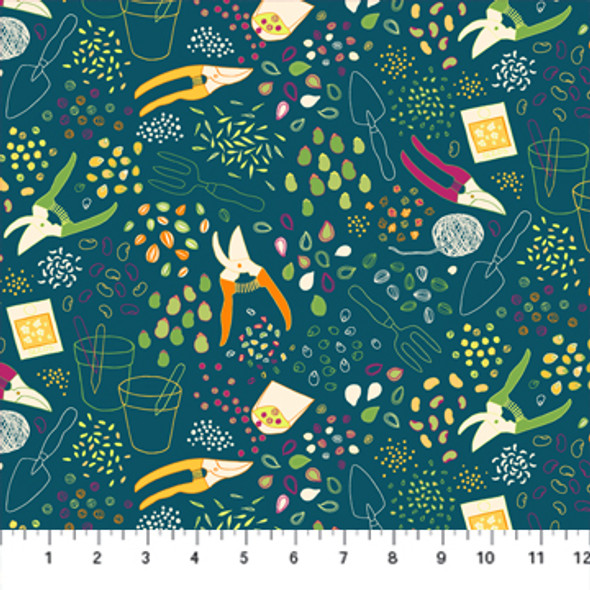 Navy Gardening Supplies Sow Figo Fabrics quilt cotton