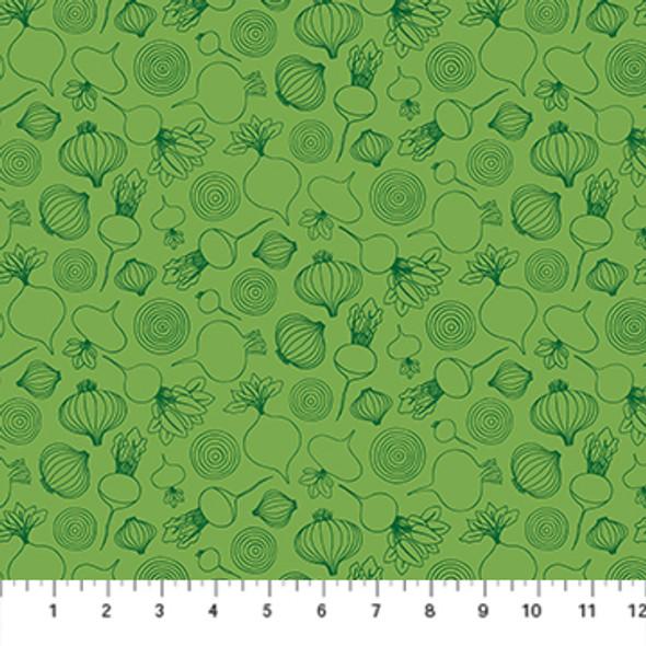 Green Onion Fabric Sow Gardening Figo Fabrics quilt cotton QTR YD
