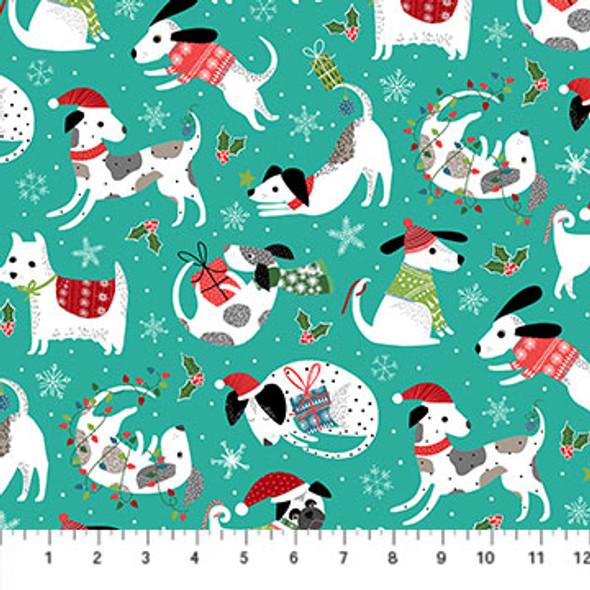 Santa Paws Christmas Dog Fabric, Northcott Fabrics, Holiday Seasonal Fabric QTR YD cotton QTR YD