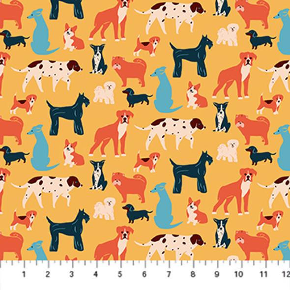 Dogs Simple Pleasure Fabric, Yellow Cotton Fabric, FIGO Fabrics QTR YD