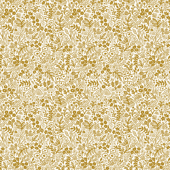 Gold Metallic Tapestry Lace - Rifle Paper Co Basics quilting cotton QTR YD