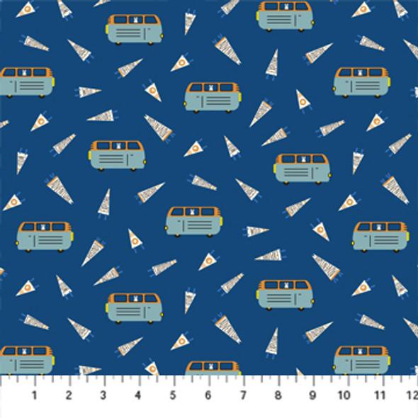 Blue Camper Van quilt cotton fabric - FIGO Fabrics modern camping fabric