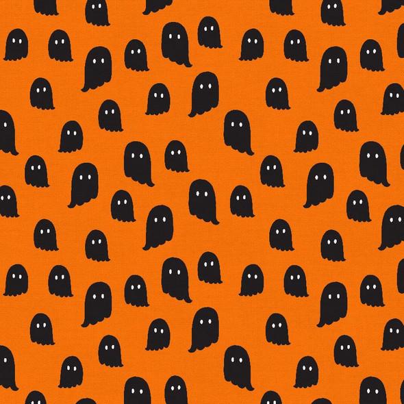 Orange Black Ghost fabric - Halloween Night PBS Fabrics quilt cotton QTR YD