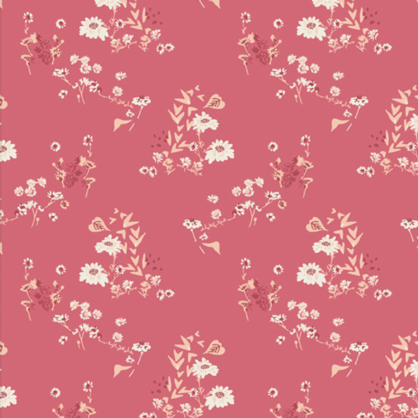 Rose Pink floral fabric - Camomile Bliss Prose Bookish - Art Gallery QTR YD