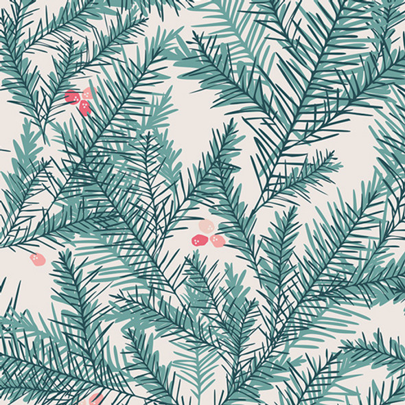 Christmas fabric, Berry Pine Needles Be Merry Art Gallery Little Town, QTR YD