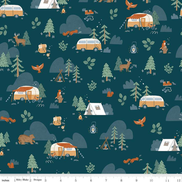 Camp Woodland navy cotton fabric Riley Blake quilting cotton QTR YD