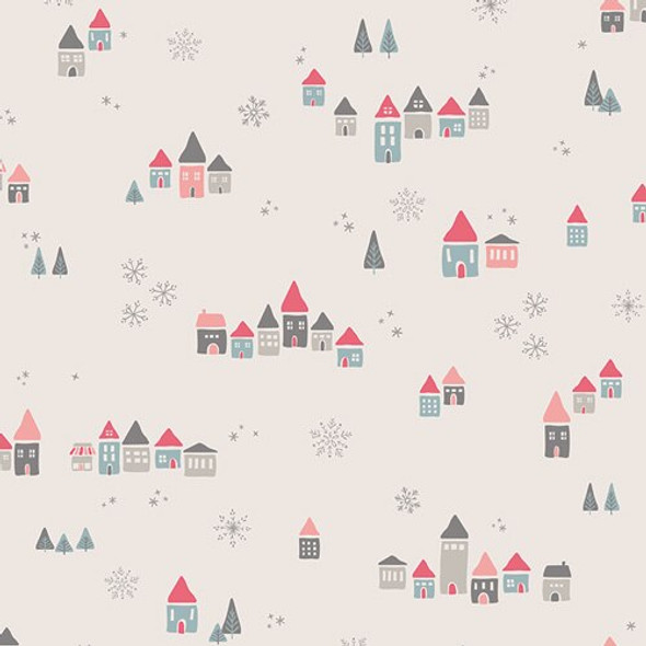 Christmas houses pastel fabrics design