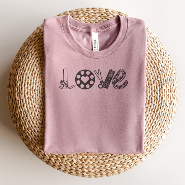Sewing Notions Love short sleeve tee Bella Canvas Orchid