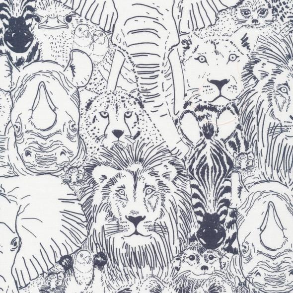 Gray wild animals organic fabric - Cloud 9 Wild Things cotton