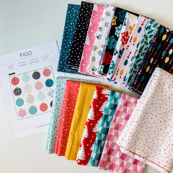 Peppermint Holiday Retro Ornament Quilt Kit Bundle FIGO Fabrics