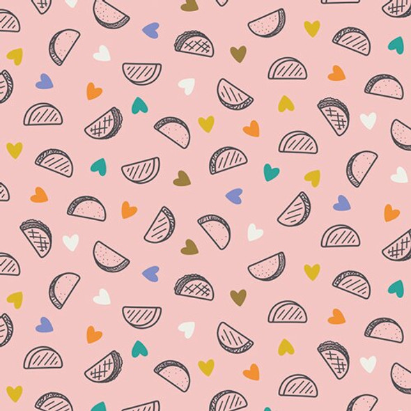 Pink Taco Love cotton fabrics design